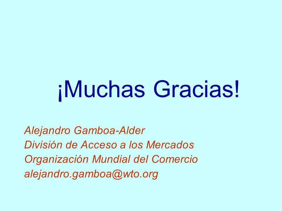 ¡Muchas Gracias! Alejandro Gamboa-Alder División de Acceso a los Mercados Organización Mundial del Comercio alejandro.gamboa@wto.org