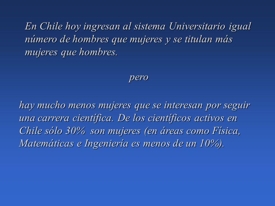 En Chile hoy ingresan al sistema Universitario igual número de hombres que mujeres y se titulan más mujeres que hombres.