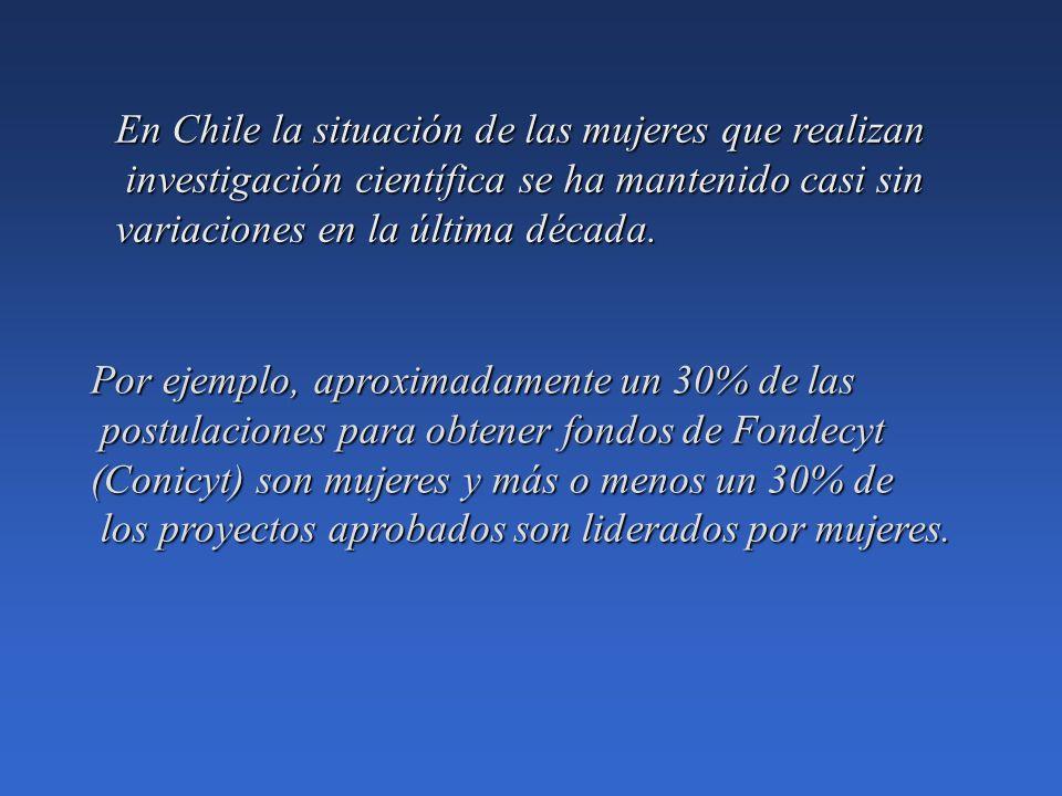 En Chile la situación de las mujeres que realizan investigación científica se ha mantenido casi sin investigación científica se ha mantenido casi sin variaciones en la última década.