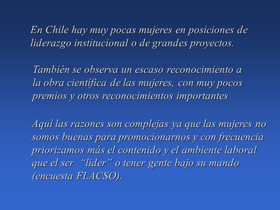 En Chile hay muy pocas mujeres en posiciones de liderazgo institucional o de grandes proyectos.