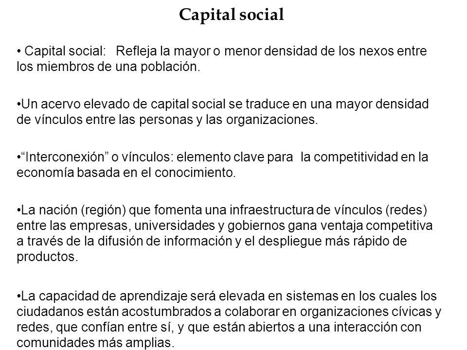 Capital social Capital social: Refleja la mayor o menor densidad de los nexos entre los miembros de una población. Un acervo elevado de capital social