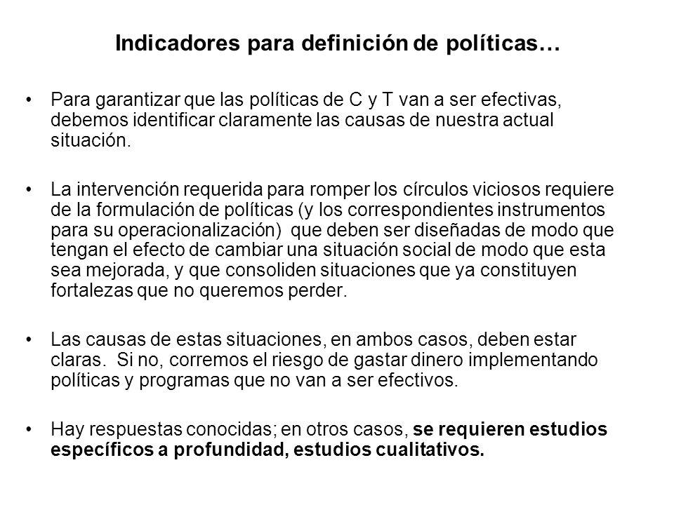 Indicadores para definición de políticas… Para garantizar que las políticas de C y T van a ser efectivas, debemos identificar claramente las causas de