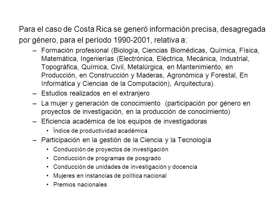 Para el caso de Costa Rica se generó información precisa, desagregada por género, para el período 1990-2001, relativa a: –Formación profesional (Biolo