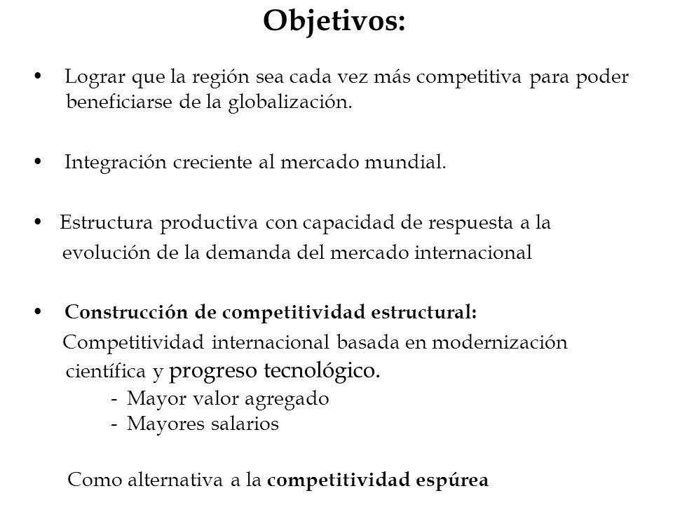 Objetivos: Lograr que la región sea cada vez más competitiva para poder beneficiarse de la globalización. Integración creciente al mercado mundial. Es
