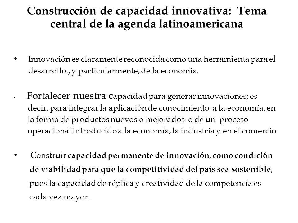 Construcción de capacidad innovativa: Tema central de la agenda latinoamericana Innovación es claramente reconocida como una herramienta para el desar