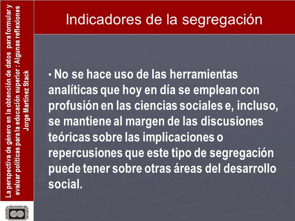 La perspectiva de género en la obtención de datos para formular y evaluar políticas para la educación superior : Algunas reflexiones Jorge Martínez St