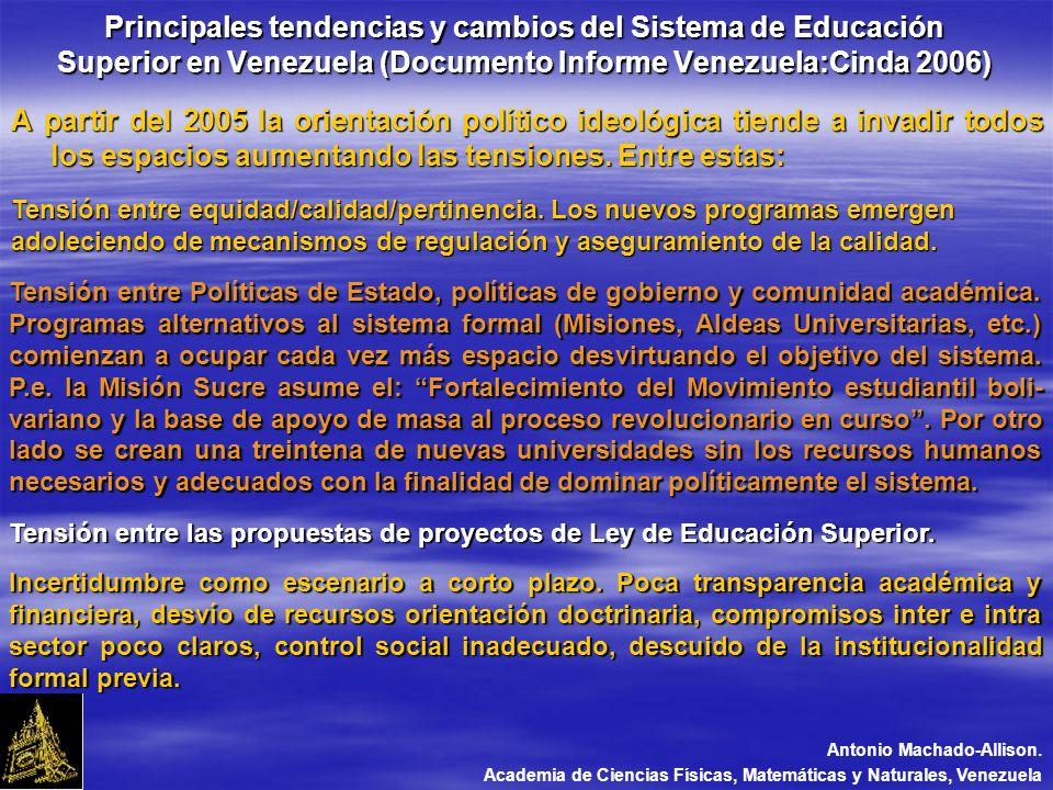 Principales tendencias y cambios del Sistema de Educación Superior en Venezuela (Documento Informe Venezuela:Cinda 2006) A partir del 2005 la orientación político ideológica tiende a invadir todos los espacios aumentando las tensiones.