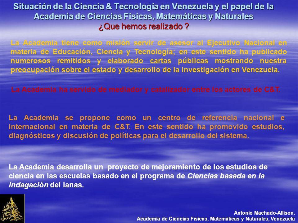 Situación de la Ciencia & Tecnología en Venezuela y el papel de la Academia de Ciencias Físicas, Matemáticas y Naturales ¿Que hemos realizado .