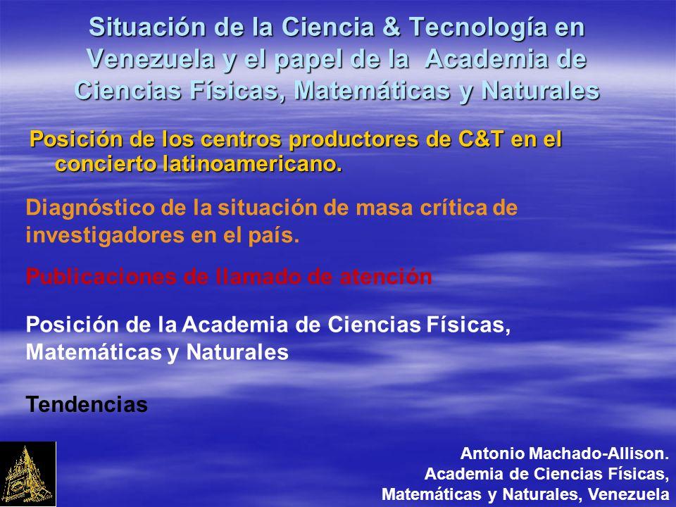 Situación de la Ciencia & Tecnología en Venezuela y el papel de la Academia de Ciencias Físicas, Matemáticas y Naturales Posición de los centros productores de C&T en el concierto latinoamericano.