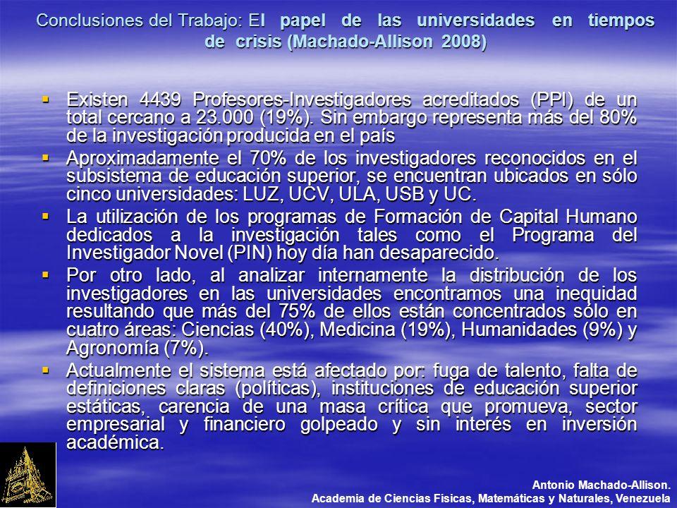 Conclusiones del Trabajo: El papel de las universidades en tiempos de crisis (Machado-Allison 2008) Existen 4439 Profesores-Investigadores acreditados (PPI) de un total cercano a 23.000 (19%).