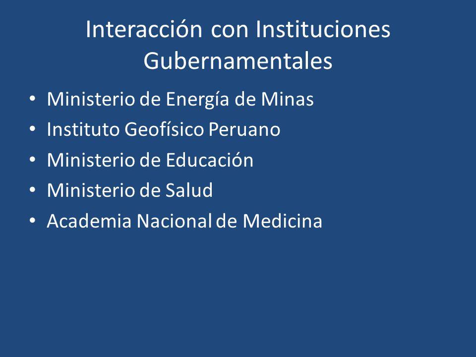 Interacción con Instituciones Gubernamentales Ministerio de Energía de Minas Instituto Geofísico Peruano Ministerio de Educación Ministerio de Salud A