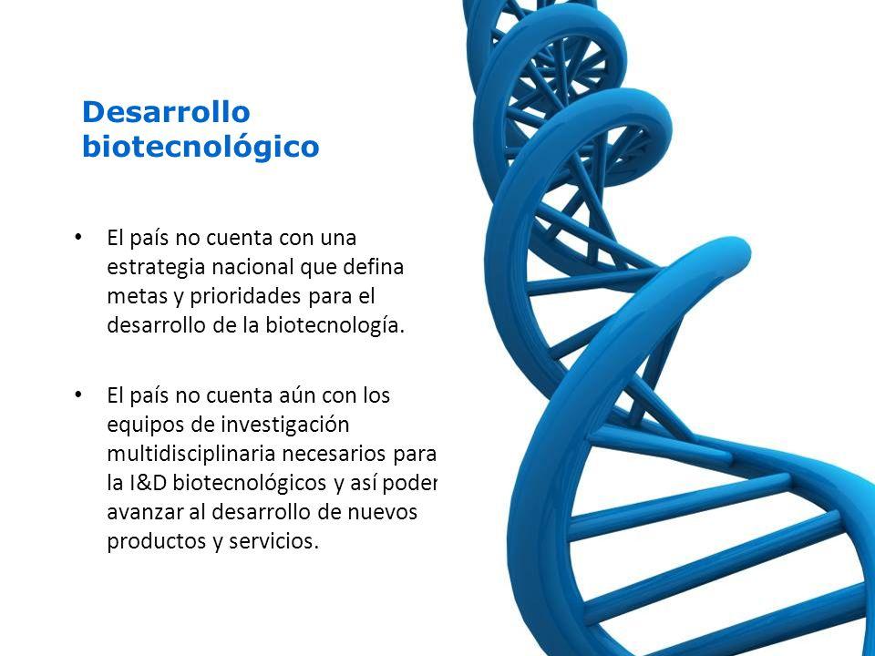 Desarrollo biotecnológico El país no cuenta con una estrategia nacional que defina metas y prioridades para el desarrollo de la biotecnología.