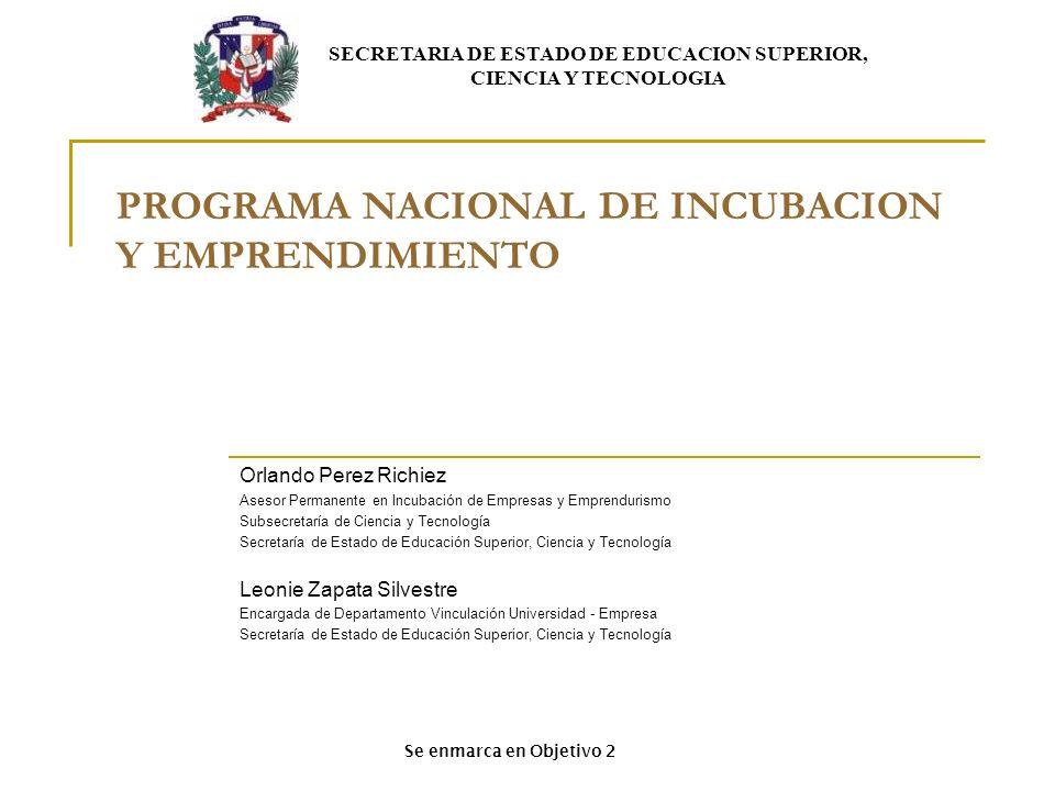 PROGRAMA NACIONAL DE INCUBACION Y EMPRENDIMIENTO Orlando Perez Richiez Asesor Permanente en Incubación de Empresas y Emprendurismo Subsecretaría de Ci