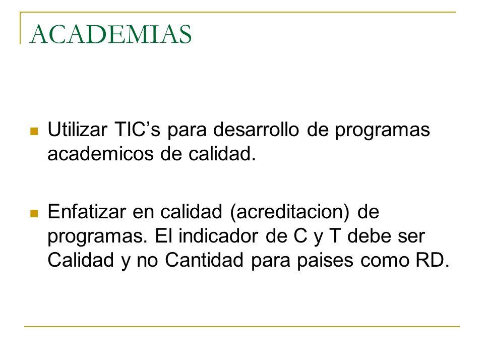 ACADEMIAS Utilizar TICs para desarrollo de programas academicos de calidad. Enfatizar en calidad (acreditacion) de programas. El indicador de C y T de