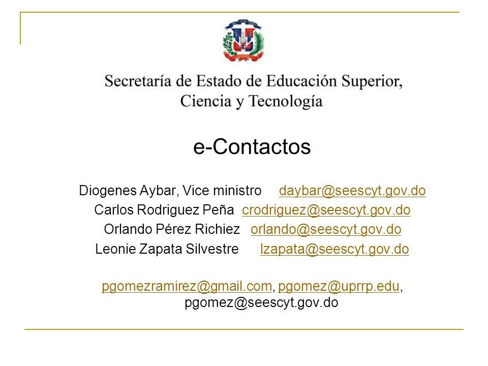 www.seescyt.gov.do e-Contactos Diogenes Aybar, Vice ministro daybar@seescyt.gov.dodaybar@seescyt.gov.do Carlos Rodriguez Peña crodriguez@seescyt.gov.d