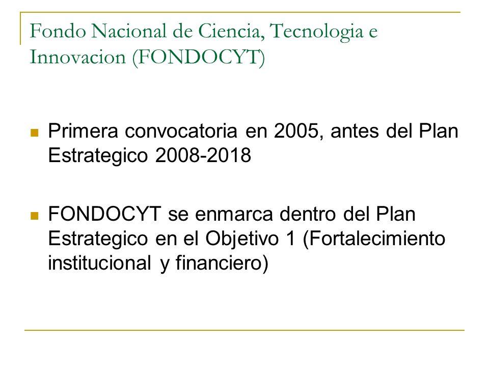 Fondo Nacional de Ciencia, Tecnologia e Innovacion (FONDOCYT) Primera convocatoria en 2005, antes del Plan Estrategico 2008-2018 FONDOCYT se enmarca d
