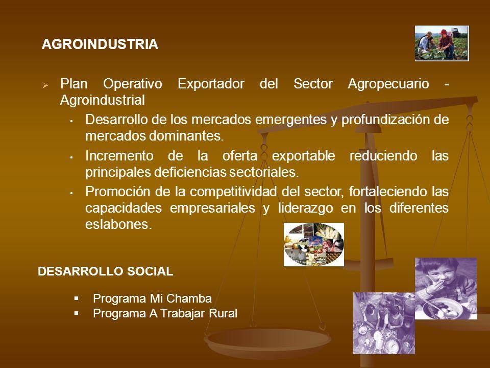 AGROINDUSTRIA Plan Operativo Exportador del Sector Agropecuario - Agroindustrial Desarrollo de los mercados emergentes y profundización de mercados do
