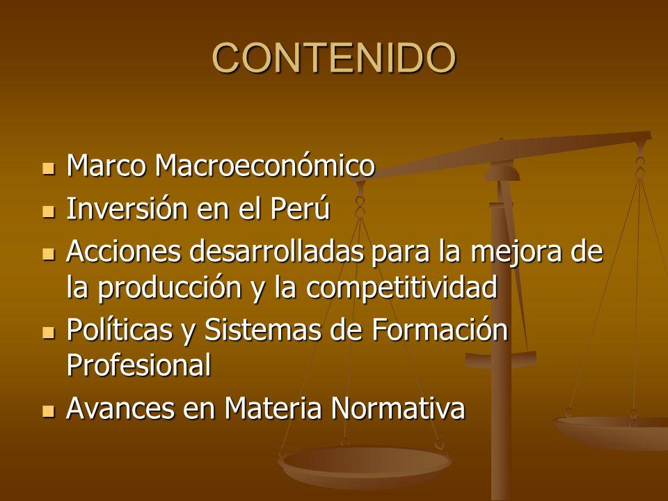 MARCO MACROECONÓMICO Producción: Crecimiento Económico PBI 5.5% (2005) Producción: Crecimiento Económico PBI 5.5% (2005) Externo: X-M = Superávit Externo: X-M = Superávit ( +US$ 4,000 ) Inflación 2.2% Inflación 2.2% Política Cambiaria: Tipo de Cambio estable Política Cambiaria: Tipo de Cambio estable Política Fiscal : Déficit fiscal 1% PBI (2005) Política Fiscal : Déficit fiscal 1% PBI (2005) Deuda /PBI : 45% (2004) 39.2% (2005) Deuda /PBI : 45% (2004) 39.2% (2005) Política Tributaria : Presión Tributaria:13.7% PBI Política Tributaria : Presión Tributaria:13.7% PBI Innovación Tecnológica: Tema de Estado, articular estado, universidad y empresa en la investigación y desarrollo tecnológico Innovación Tecnológica: Tema de Estado, articular estado, universidad y empresa en la investigación y desarrollo tecnológico