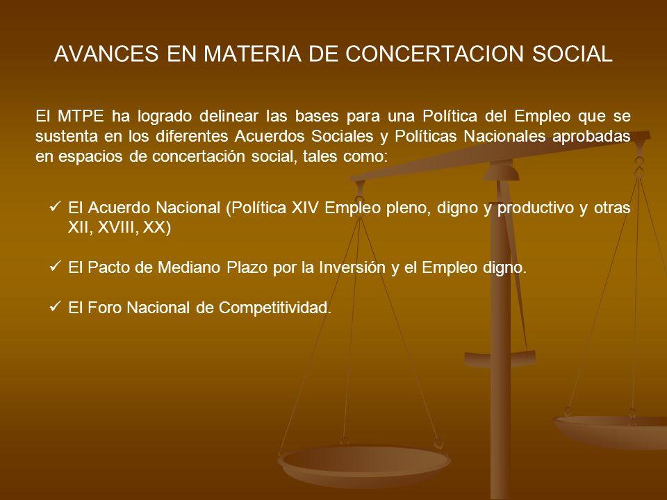 AVANCES EN MATERIA DE CONCERTACION SOCIAL El MTPE ha logrado delinear las bases para una Política del Empleo que se sustenta en los diferentes Acuerdo