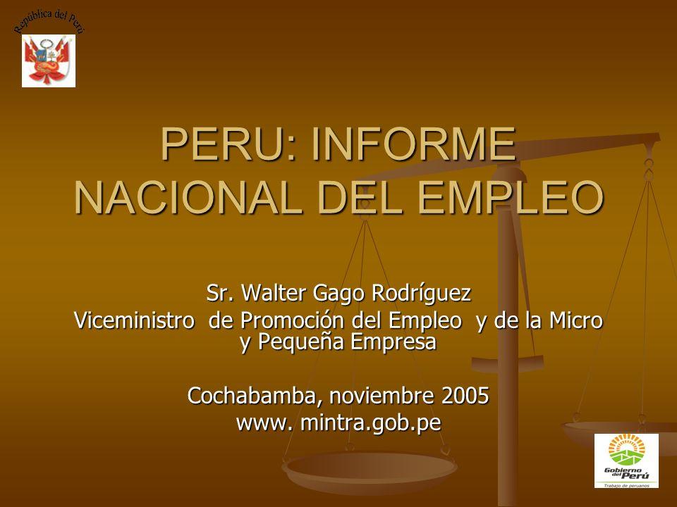 PERU: INFORME NACIONAL DEL EMPLEO Sr. Walter Gago Rodríguez Viceministro de Promoción del Empleo y de la Micro y Pequeña Empresa Cochabamba, noviembre