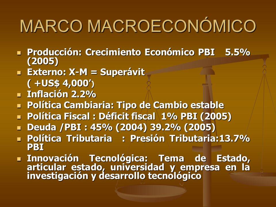 MARCO MACROECONÓMICO Producción: Crecimiento Económico PBI 5.5% (2005) Producción: Crecimiento Económico PBI 5.5% (2005) Externo: X-M = Superávit Exte