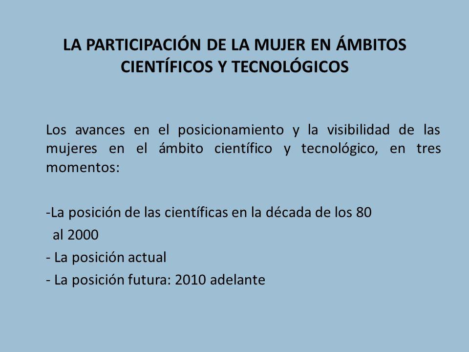 LA PARTICIPACIÓN DE LA MUJER EN ÁMBITOS CIENTÍFICOS Y TECNOLÓGICOS Los avances en el posicionamiento y la visibilidad de las mujeres en el ámbito cien