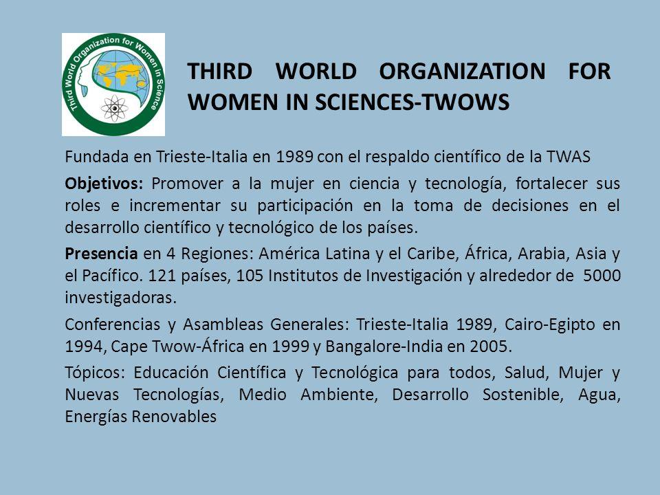 Fundada en Trieste-Italia en 1989 con el respaldo científico de la TWAS Objetivos: Promover a la mujer en ciencia y tecnología, fortalecer sus roles e