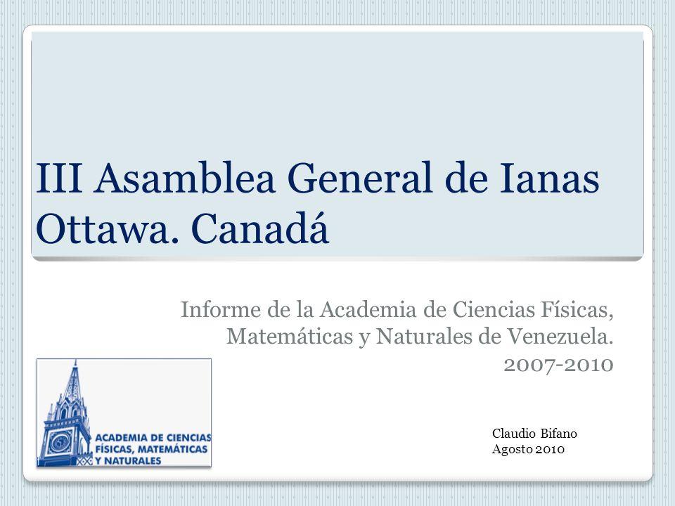 III Asamblea General de Ianas Ottawa.