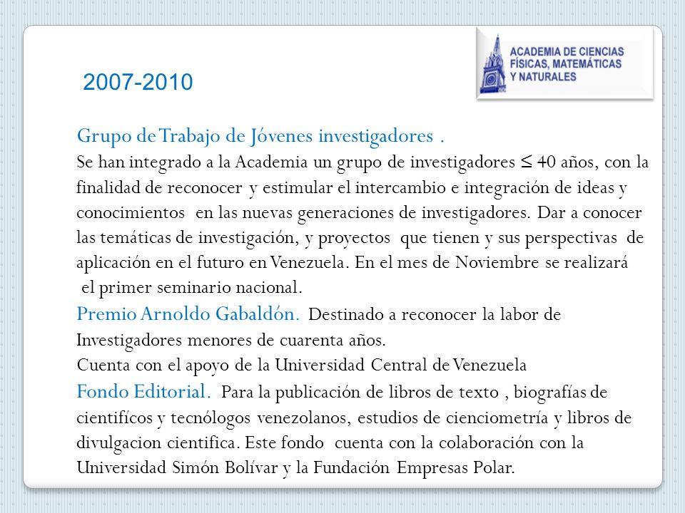 2007-2010 Grupo de Trabajo de Jóvenes investigadores.