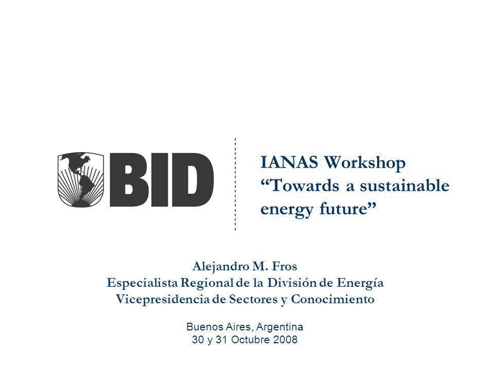 IANAS Workshop Towards a sustainable energy future Alejandro M. Fros Especialista Regional de la División de Energía Vicepresidencia de Sectores y Con