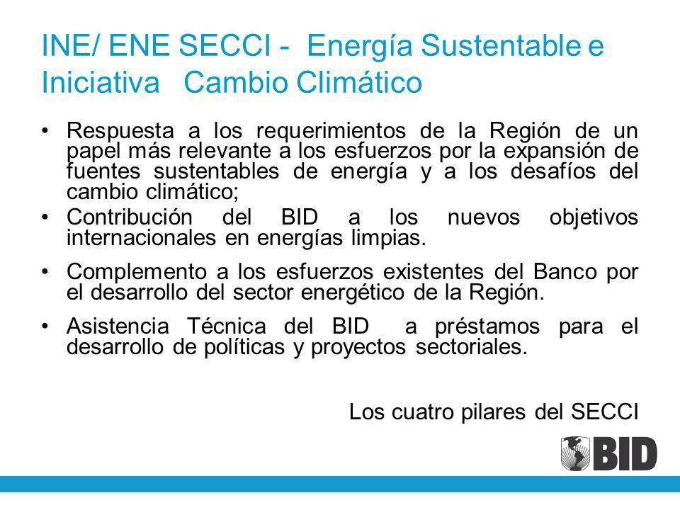 INE/ ENE SECCI - Energía Sustentable e Iniciativa Cambio Climático Respuesta a los requerimientos de la Región de un papel más relevante a los esfuerz