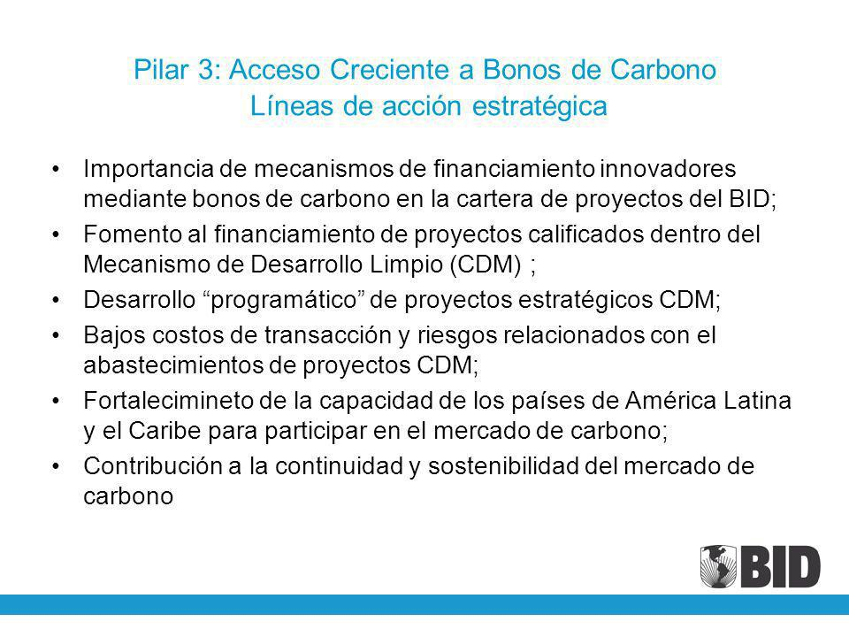 Pilar 3: Acceso Creciente a Bonos de Carbono Líneas de acción estratégica Importancia de mecanismos de financiamiento innovadores mediante bonos de ca