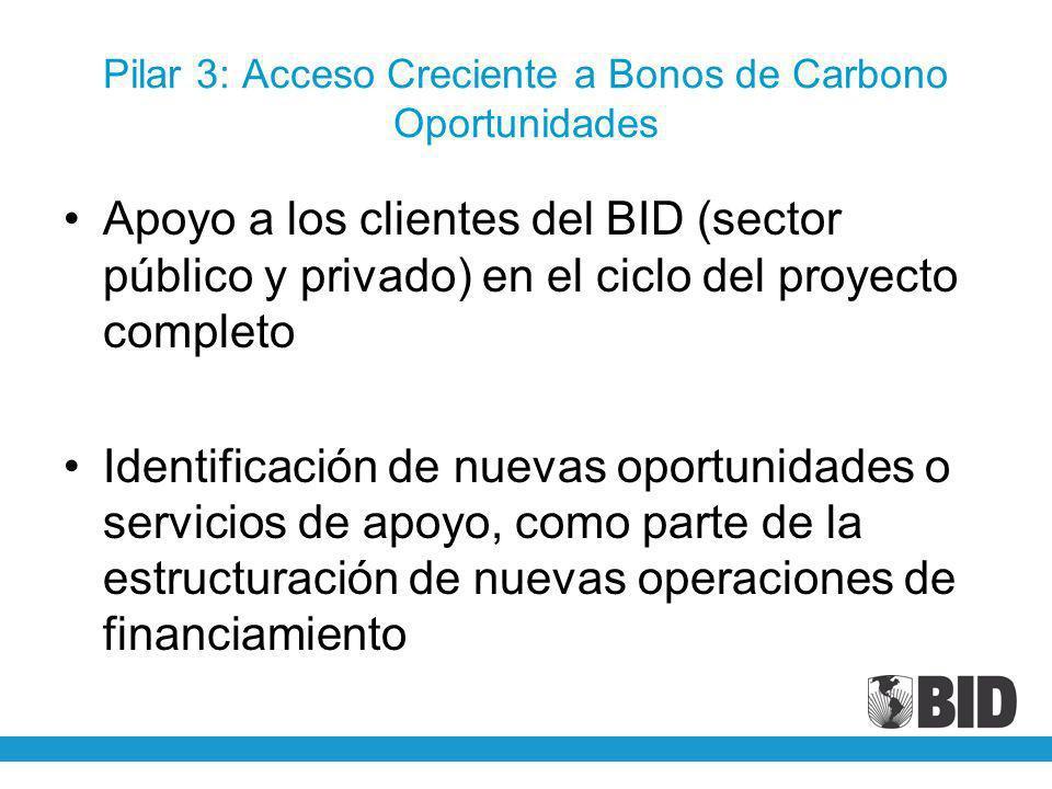 Pilar 3: Acceso Creciente a Bonos de Carbono Oportunidades Apoyo a los clientes del BID (sector público y privado) en el ciclo del proyecto completo I