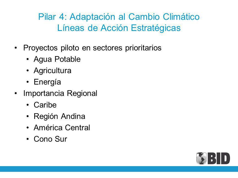 Pilar 4: Adaptación al Cambio Climático Líneas de Acción Estratégicas Proyectos piloto en sectores prioritarios Agua Potable Agricultura Energía Impor