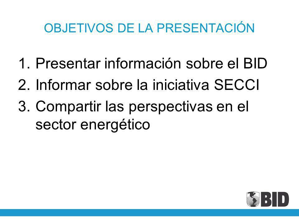 OBJETIVOS DE LA PRESENTACIÓN 1.Presentar información sobre el BID 2.Informar sobre la iniciativa SECCI 3.Compartir las perspectivas en el sector energ