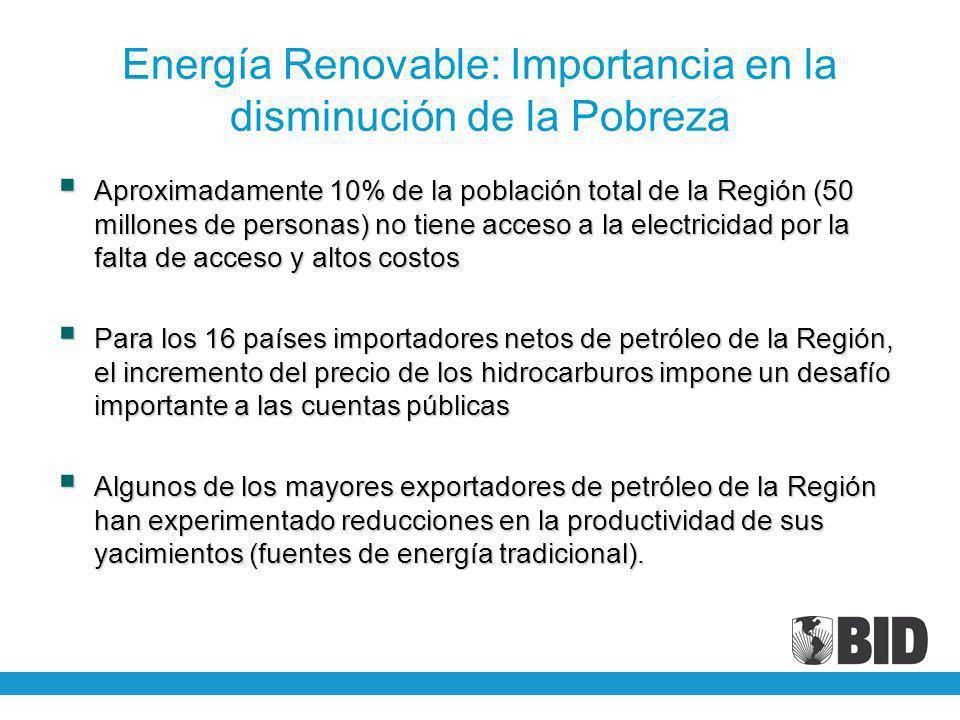Energía Renovable: Importancia en la disminución de la Pobreza Aproximadamente 10% de la población total de la Región (50 millones de personas) no tie