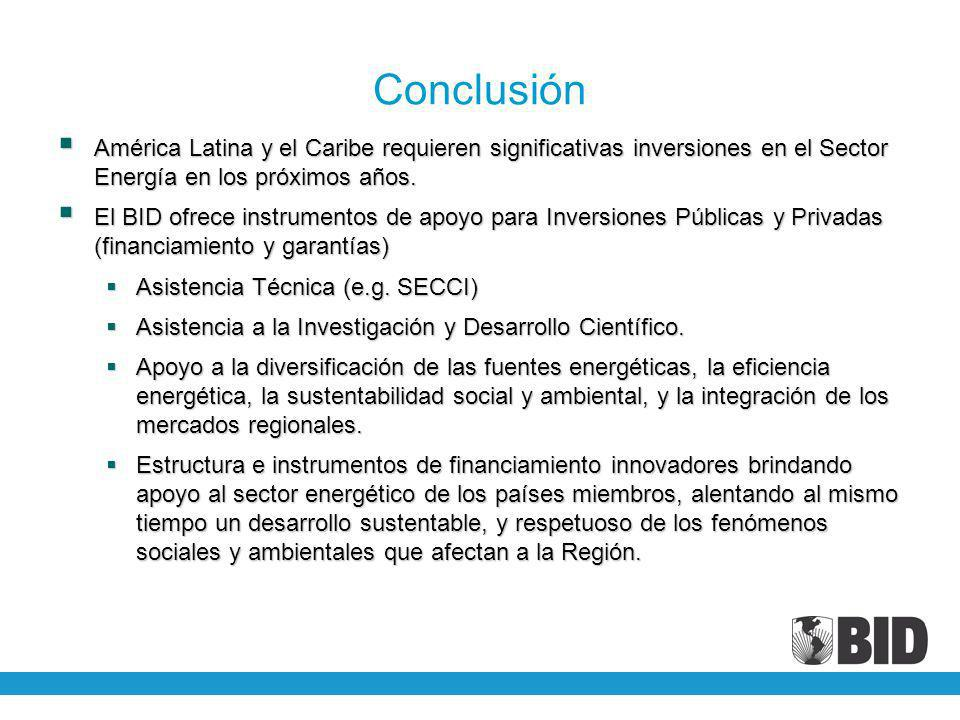 Conclusión América Latina y el Caribe requieren significativas inversiones en el Sector Energía en los próximos años. América Latina y el Caribe requi
