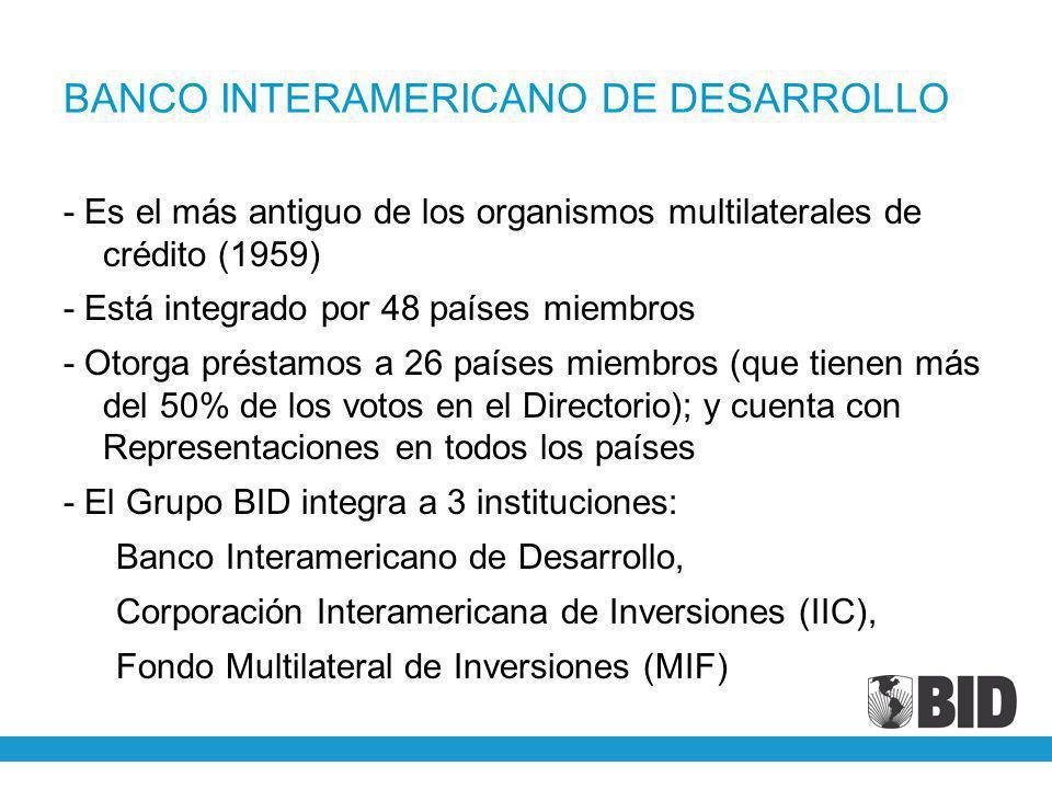 BANCO INTERAMERICANO DE DESARROLLO - Es el más antiguo de los organismos multilaterales de crédito (1959) - Está integrado por 48 países miembros - Ot