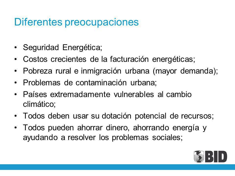 Diferentes preocupaciones Seguridad Energética; Costos crecientes de la facturación energéticas; Pobreza rural e inmigración urbana (mayor demanda); P