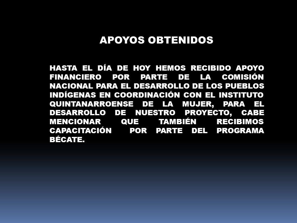 APOYOS OBTENIDOS HASTA EL DÍA DE HOY HEMOS RECIBIDO APOYO FINANCIERO POR PARTE DE LA COMISIÓN NACIONAL PARA EL DESARROLLO DE LOS PUEBLOS INDÍGENAS EN