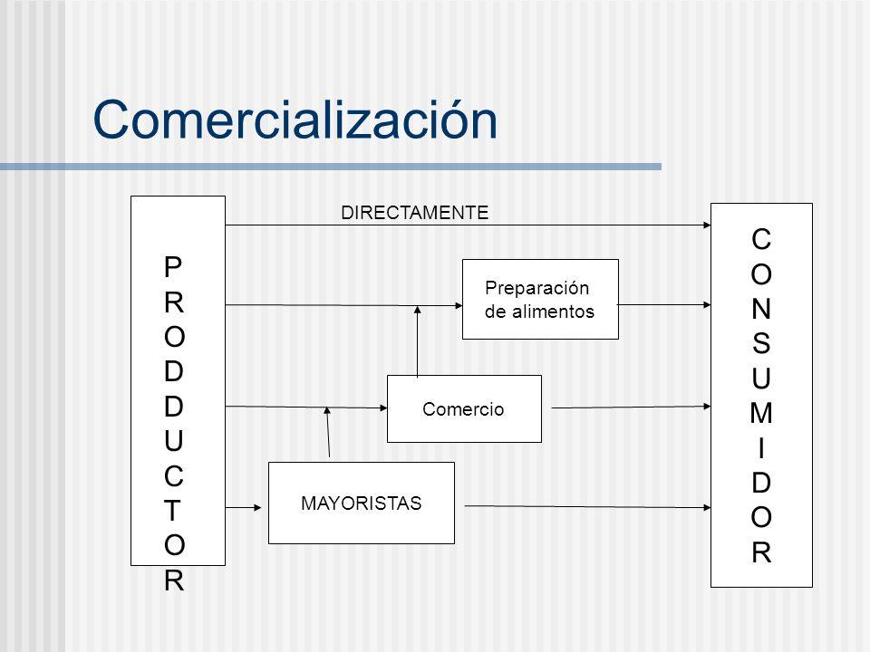 Comercialización PRODDUCTORPRODDUCTOR CONSUMIDORCONSUMIDOR Preparación de alimentos Comercio MAYORISTAS DIRECTAMENTE