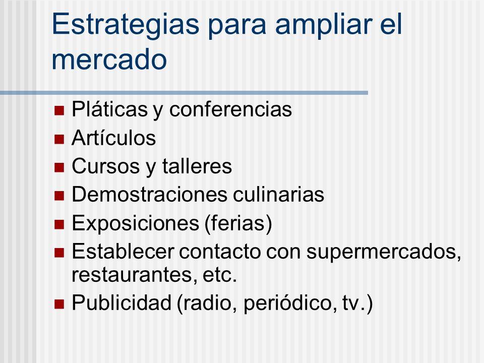 Estrategias para ampliar el mercado Pláticas y conferencias Artículos Cursos y talleres Demostraciones culinarias Exposiciones (ferias) Establecer con