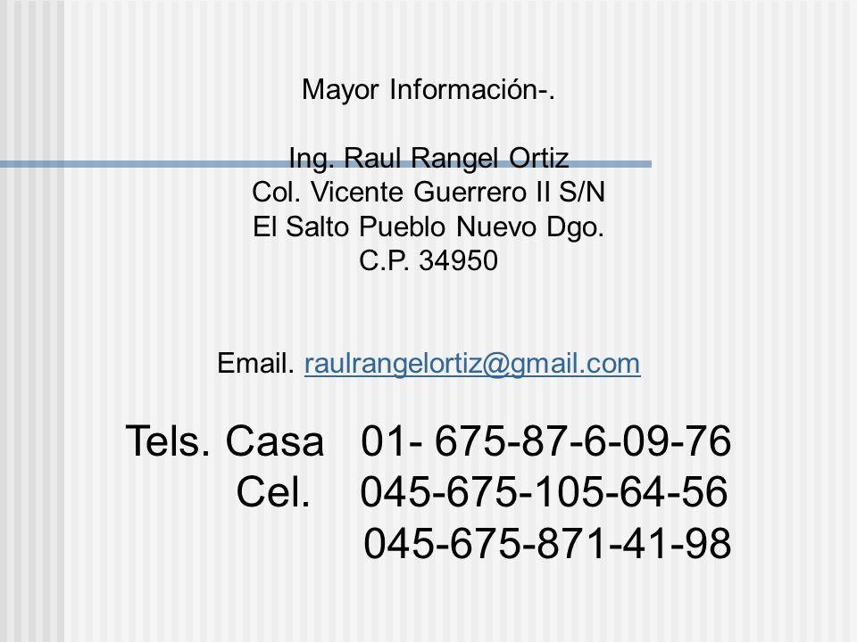Mayor Información-. Ing. Raul Rangel Ortiz Col. Vicente Guerrero II S/N El Salto Pueblo Nuevo Dgo. C.P. 34950 Email. raulrangelortiz@gmail.comraulrang
