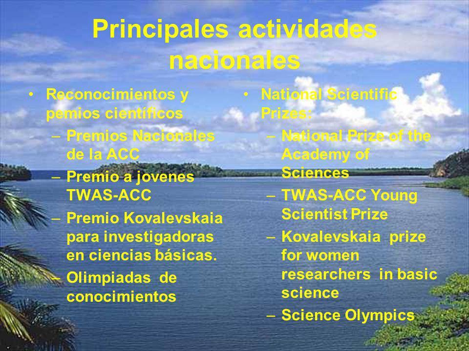 Principales actividades nacionales Reconocimientos y pemios científicos –Premios Nacionales de la ACC –Premio a jovenes TWAS-ACC –Premio Kovalevskaia para investigadoras en ciencias básicas.