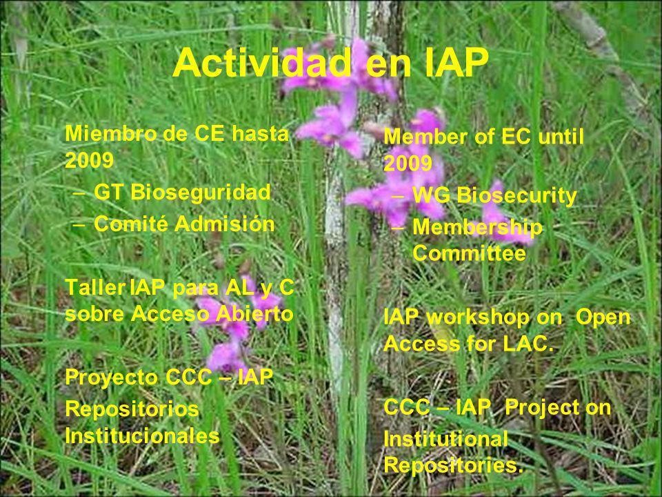 Actividad en IAP Miembro de CE hasta 2009 –GT Bioseguridad –Comité Admisión Taller IAP para AL y C sobre Acceso Abierto Proyecto CCC – IAP Repositorios Institucionales Member of EC until 2009 –WG Biosecurity –Membership Committee IAP workshop on Open Access for LAC.