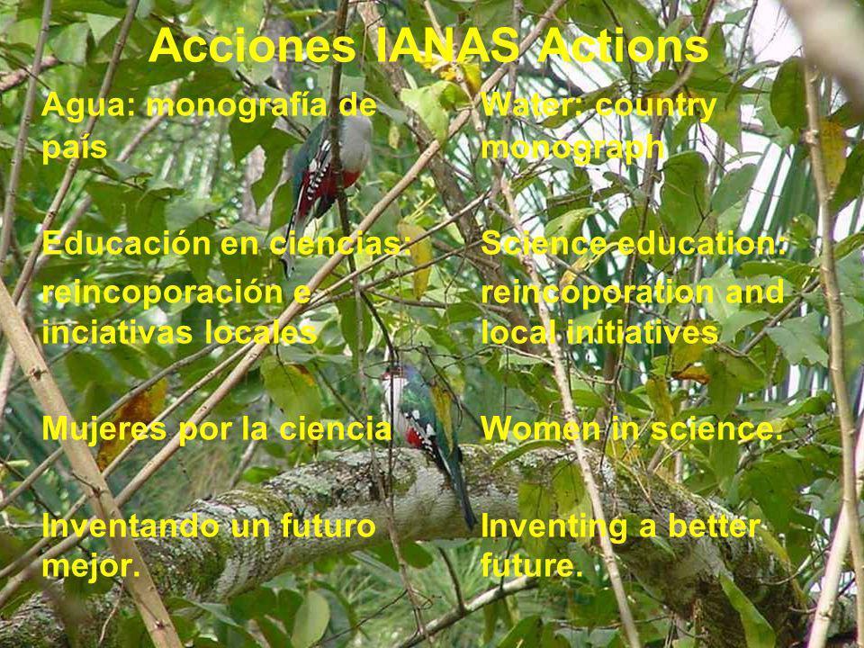 Acciones IANAS Actions Agua: monografía de país Educación en ciencias: reincoporación e inciativas locales Mujeres por la ciencia Inventando un futuro mejor.