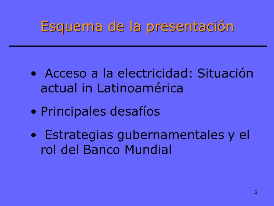 2 Acceso a la electricidad: Situación actual in Latinoamérica Principales desafíos Estrategias gubernamentales y el rol del Banco Mundial Esquema de l