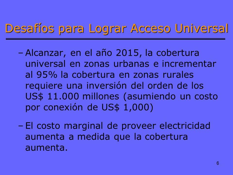 6 Desafíos para Lograr Acceso Universal –Alcanzar, en el año 2015, la cobertura universal en zonas urbanas e incrementar al 95% la cobertura en zonas