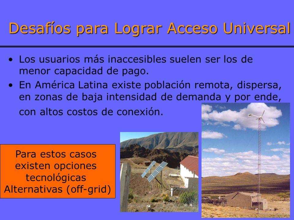 7 Desafíos para Lograr Acceso Universal Los usuarios más inaccesibles suelen ser los de menor capacidad de pago. En América Latina existe población re