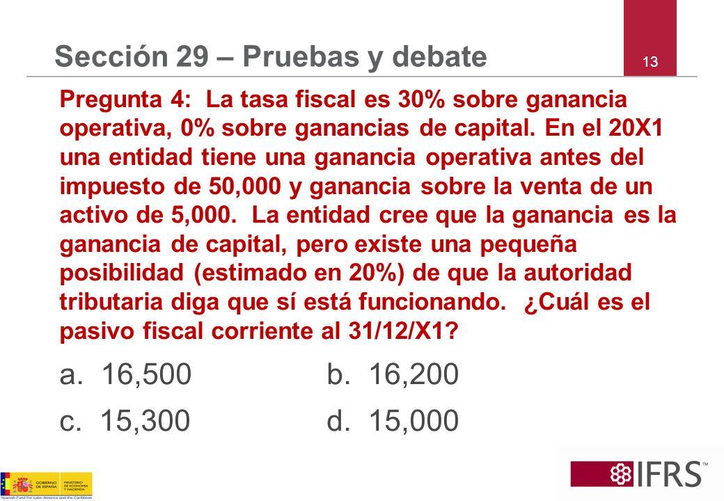 13 Sección 29 – Pruebas y debate Pregunta 4: La tasa fiscal es 30% sobre ganancia operativa, 0% sobre ganancias de capital. En el 20X1 una entidad tie